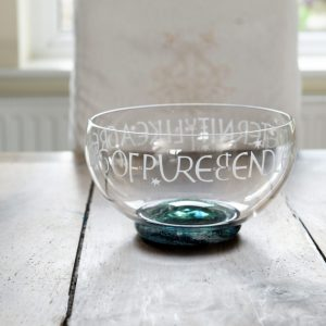 Bowl - hand blown glass - ashes in glass in the base - hand cut inscription