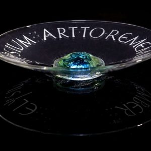 Ashes in glass dish - hand engraved by calligrapher
