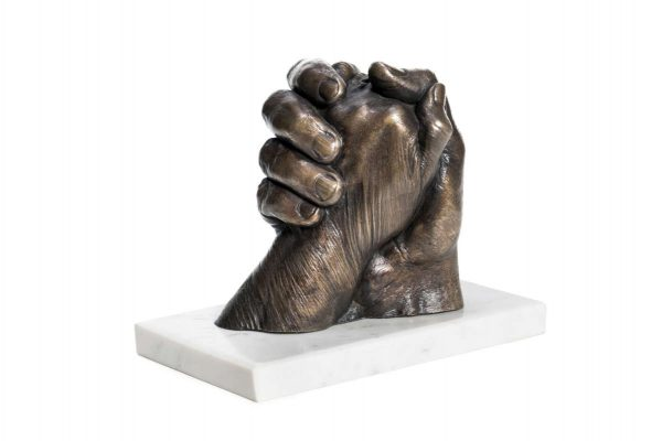 Bronze hands sculpture - contemporary sculpture - memorial for the home