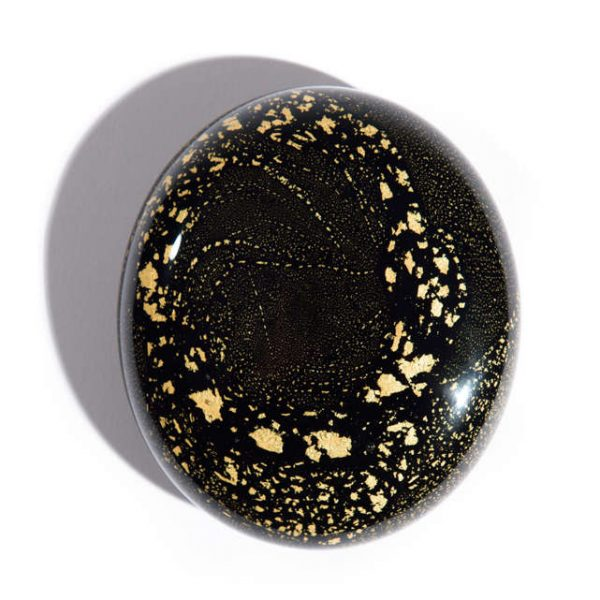 Night Sky - Black and 24 carat gold leaf keepsake memorial Pebble - holds cremation ashes