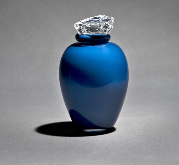 midnight blue urn-for funeral ashes-crystal top