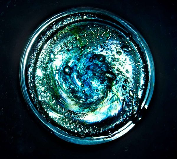 Aqua blue ashes in glass colour sample