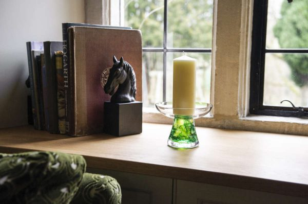Conical ashes in glass contemporary candle holder memorial