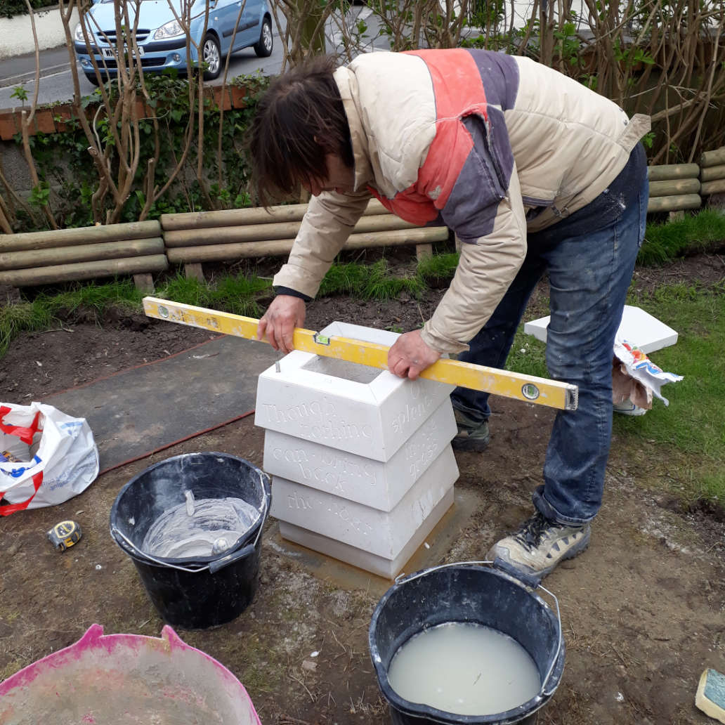 Ed Humphris - constructing a Beehive memorial sculpture for the garden