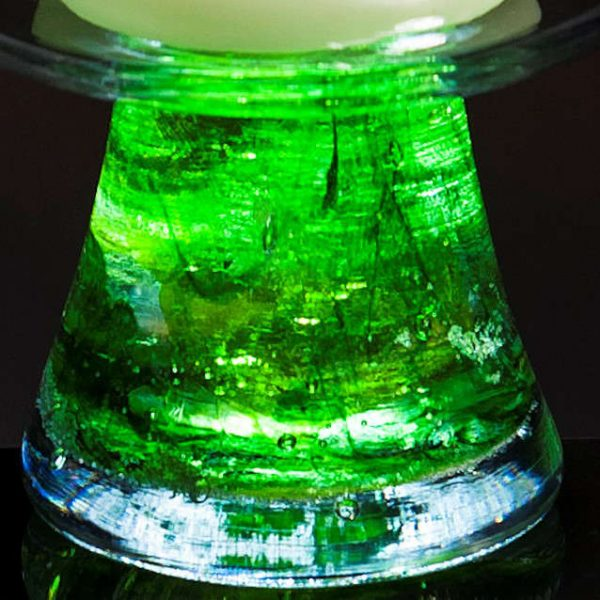 Ashes in glass green colour sample