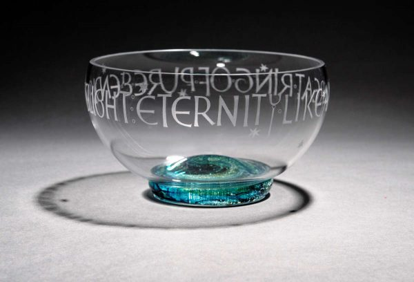 Memorial bowl with ashes in the base - engraved by a calligrapher