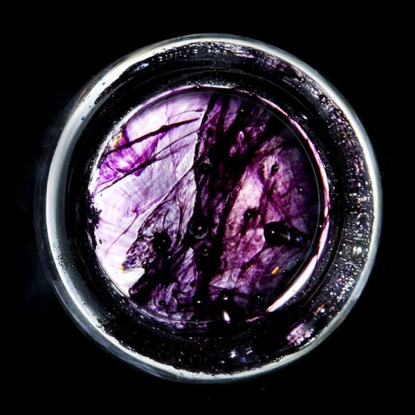 Ashes in glass purple colour sample