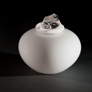 White Crystal Contemporary urn for a full set of ashes - made in the UK