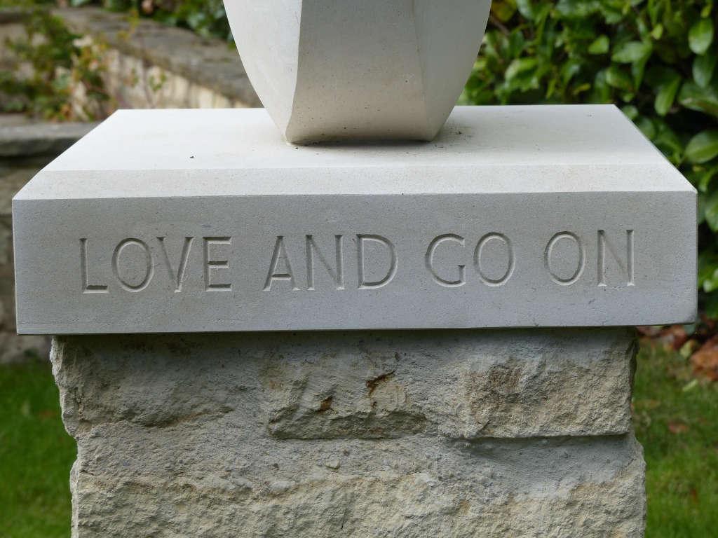 Inscription on garden memorial sculpture - hand cut in Portland stone