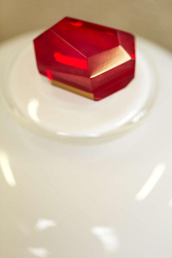 Ruby birthstone urn stopper - hand cut