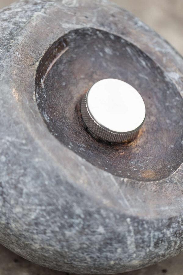 Bronze Pebble Garden Urn - screw cap detail